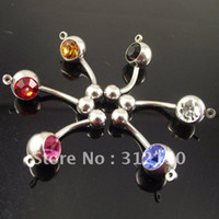 Wholesale add heart - 100pcs lot vertical Hoop Add Your Own Charm Belly Ring mixed color body jewelry.Navel ring.Belly Button Rings