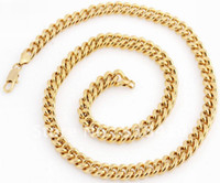 Wholesale 24 Inches g K Solid Yellow Gold plated Necklace Chain C7 Solid Gold plated Necklace Chain
