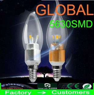 best selling Retail chandelier bulbs E14 E12 Led Candle bulb led lamps led lighting 6W 6*1W 5630 SMD 6 leds modern silver golden Warm Cool White Lights