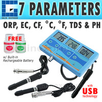 Wholesale Ph Orp Tds - PHT-027 Multi-function 7-in-1 ORP (mV), PH, CF, EC, TDS (ppm), degree F, degree C Meter Tester Thermometer + Built-in Rechargeable Battery