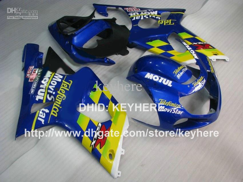 Personaliseer ABS Plastic Fairing Kit voor Suzuki GSX R1000 2000 2001 2002 GSXR1000 00 01 02 K2 BIJGELIJKHEID G2B Nieuwe gele Blue Motorcycle Body Work