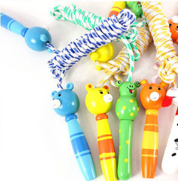 Wholesale Wholesale Skipping Ropes - Hot Sale 2.25m Wooden Cute Kid's Skipping Rope   Colorful Cartoon Jump Rope 10pcs lo