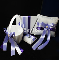 Wholesale Purple Wedding Guestbook - wedding favors lilac design Guestbook Pen Set Ring Pillow Flower Basket