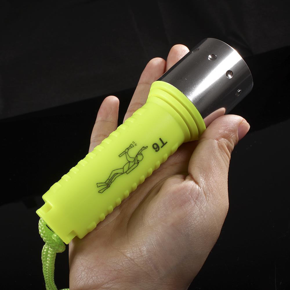 Gratis DHL / FEDEX 20 STKS, 2013 Nieuwe Waterdichte CREE XM-L XML T6 1600LM LED DUIPEN Onderwater Zaklamp Onderwater Lamp Torch gele kleur