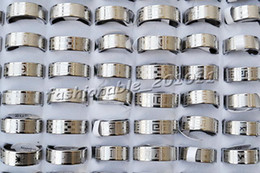 $enCountryForm.capitalKeyWord NZ - 50piece lot Stainless steel Mixed Pattern Silver Tone Rings jewelry Size 17-22mm Width 8mm Thickness 1.2mm #R266 Brand New Free Shipping