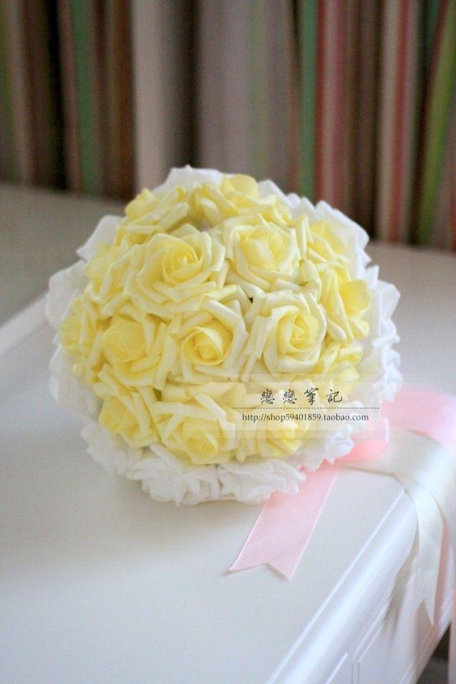 Wedding Bouquet Artificial Rose Flowers YELLOW Rose Bride Bouquet ...