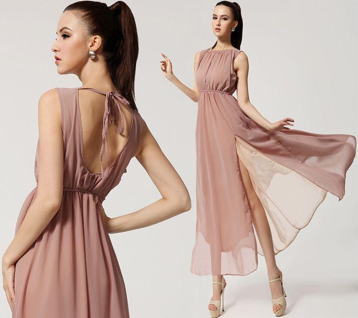 Les femmes Halter Neck robe en mousseline de soie Sexy Side Slit Backless Maxi Robes Summer Bohemian Beach longue robe