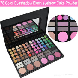 Wholesale 78 Color Professional Eyeshadow Palette - Brand 78 Colors professional Make Up Emerald Eyeshadow lip blush palette full Color with brush Mirror free shipping with logo