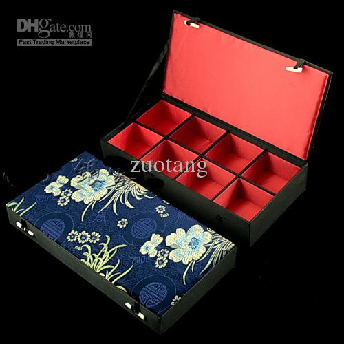 Alto grado 8 rejilla vitrinas de joyería de seda impresión brazalete pulsera cajas cajas de corbata relojes cajas de regalo cajas de la baratija 1 unids mezcla de color libre
