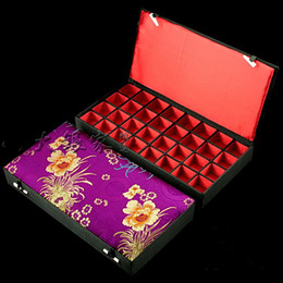 Wholesale Silk Agate - Boutique Wooden 32 Multi Grid Box Earring Stud Packaging Silk Brocade Ring Pendant Case Jade Agate Jewelry Storage Boxes 1pcs