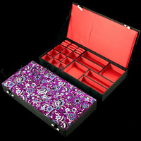 Boutique Wooden Jewelry Set Box Silk Brocade Multiple Ring P...