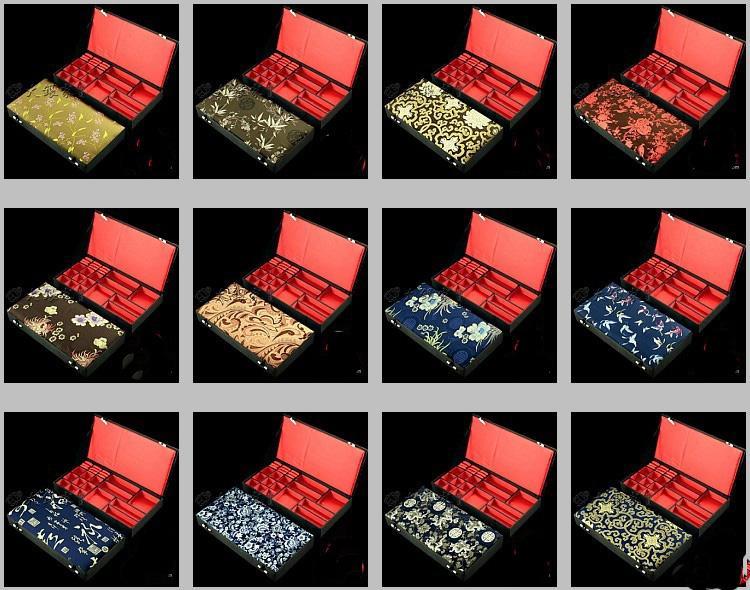 Boutique Houten Sieraden Set Box Zijde Brocade Meerdere Ring Hanger Ketting Armband Oorbel Stud Storage Case Wedding Verjaardagscadeau