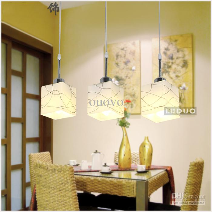 3 E27 Lights 50cm Long Dining Room Pendant Light Modern Delineated ...