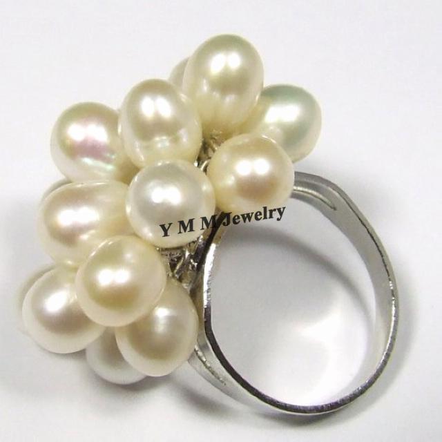 Anillos de perlas naturales ajustables Anillos de perlas de agua dulce negro, blanco, naranja 6 unids