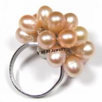 anillo de perlas de racimo negro al por mayor-Anillos de perlas naturales ajustables Anillos de perlas de agua dulce negro, blanco, naranja 6 unids