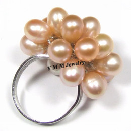 Wholesale Black Fresh Water Pearls - Adjustable Natural Pearl Cluster Rings Black, White, Orange Fresh Water Pearls Rings 6pcs