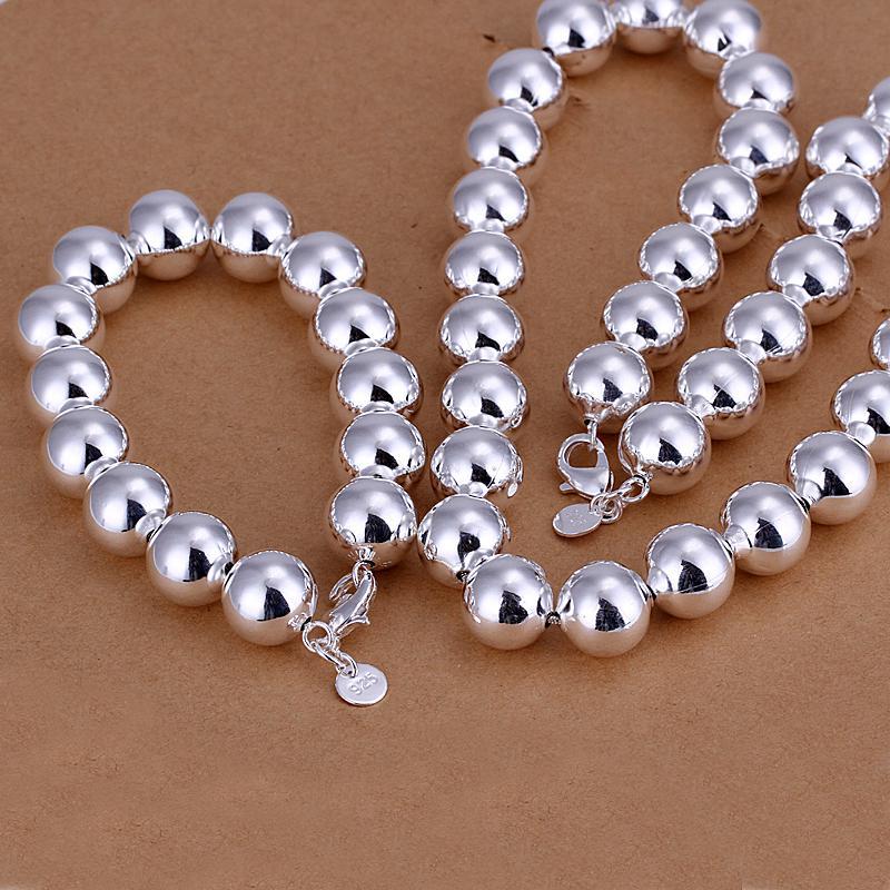top sale silver chain 14MM hollow prayer beads chain 925 silver jewelry set,925 sterling silver neckace bracelet set,ZSSS-134