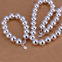 Wholesale China Plastic Beads - top sale 6 sets lot silver chain 14MM hollow prayer beads chain 925 silver jewelry set,925 sterling silver neckace bracelet set,ZSSS-134