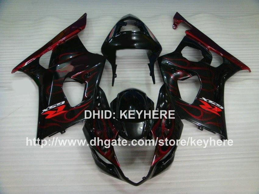 Personnaliser le kit de carénage en plastique ABS pour SUZUKI GSX-R1000 2003 2004 GSXR1000 2003 2004 Carénage de moto K3 G9b flammes rouges noir travailler le corps