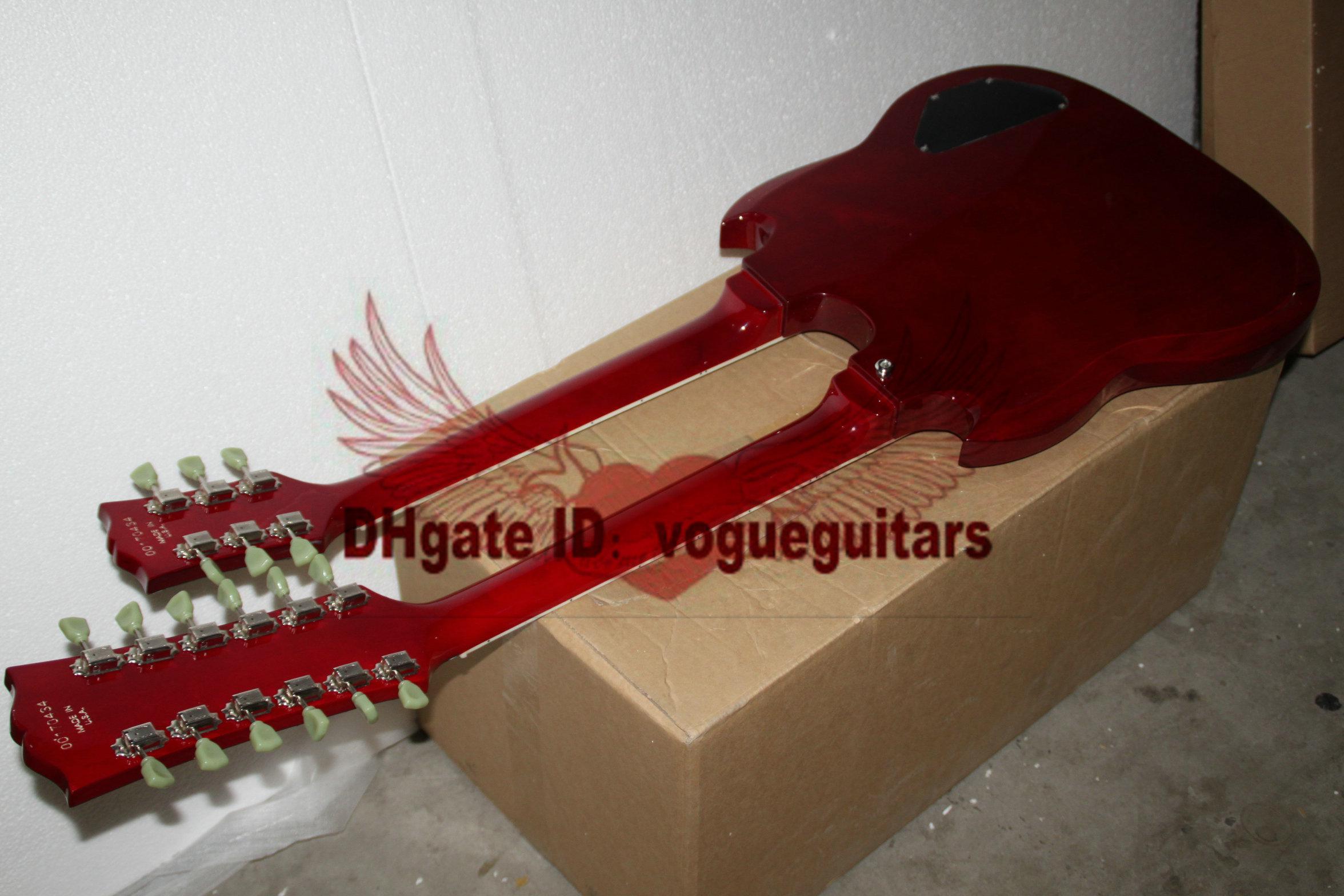 Aangepaste linkshandige gitaar dubbele hals 6 snaren 12 snaren elektrische gitaar in rode gratis verzending 11
