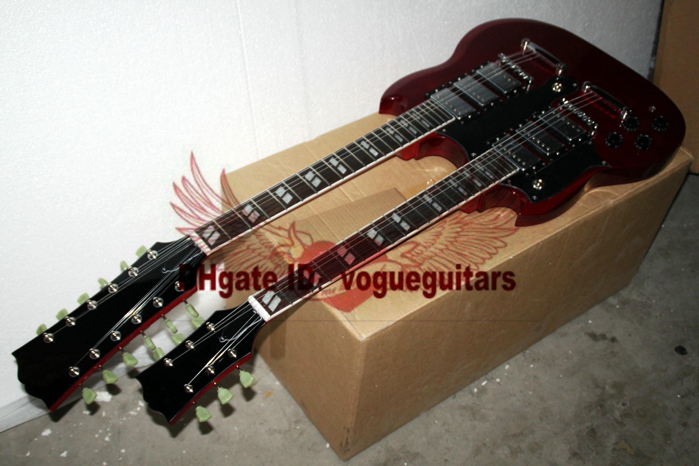 Benutzerdefinierte Linkshänder Gitarre Doppelhals 6 Saiten 12 Saiten E-Gitarre in rot Kostenloser Versand 11