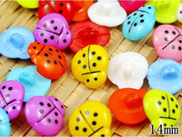 Wholesale Wholesale Ladybug Sewing Button - 200pc lot 14mm Candy color ladybug resin Button,baby DIY doll appliques sewing scrapbook Cardmaking