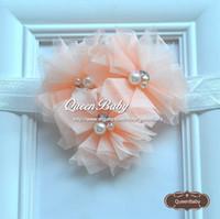 queenbaby stirnband großhandel-Dreifaches Tulle-Blumen-schäbiges Chiffon- Stirnband, das Baby zwei Perle und Rhinestone-Blumen-Stirnbänder 120PCS / lot QueenBaby zusammenbringt