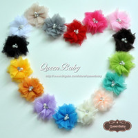 Wholesale Wholesaler Hair Accessory - Mini Tulle Mesh Flowers With Rhinestone Pearl Center Poof Flowers headbands Hair Accessories Photography Props 600PCS lot QueenBaby