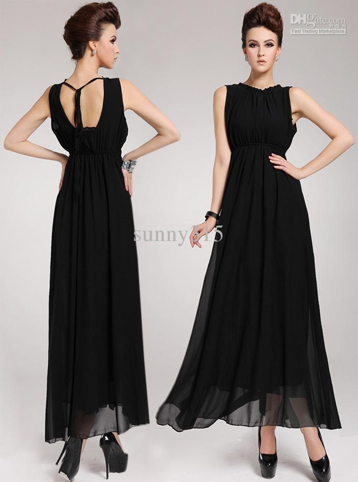 Femmes d'été robes Sexy Halter en mousseline de soie robe Plus Size Backless Ball robe noire longue robe taille S-XL