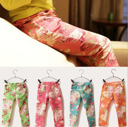 Wholesale Baby Trousers Pencil Pants - 2016 Baby girls flower leggings floral tights pants 2-8years kids girl pencil pant trouser orange blue pink green jeans children's clothes
