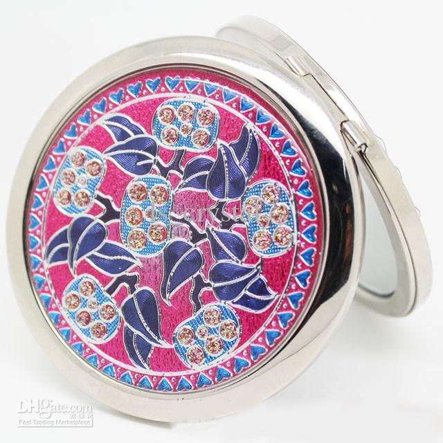 Cor Flor Shell Espelho Compacto de Dupla Face Redonda Bolso Espelho de Maquiagem Beleza Romântica Favores MINI Espelho para Senhoras e Meninas 10 pçs / lote