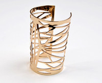 Punk Jewelry Cuff Bracelets Gold Metal Wide Long Bangle Cuff...