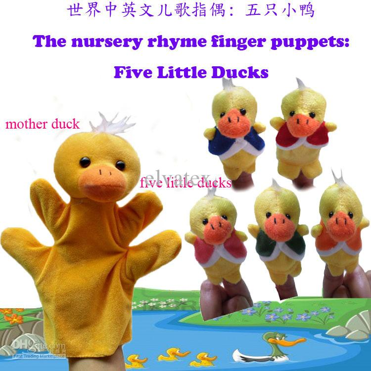 World Nursery Rhyme-Five Little Ducks Plush Finger Puppets /Hand Puppets For Kids/Students Talking Props