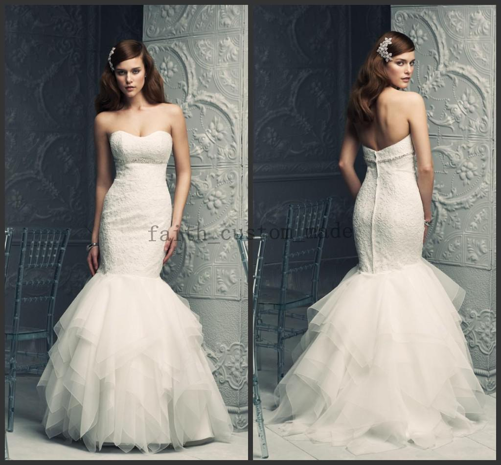 Cheap Ivory Mermaid Wedding Dresses Sweetheart Sleeveless Layered Ruffles Lace Bodice Beaded Crystal Zipper Bridal Gowns Paloma Blanca 4211 Latest