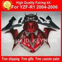 Wholesale yamaha r1 custom fairings - Custom free Fairing kit Bodywork for 2004 2005 2006 YAMAHA YZF R1 04 05 06 YZFR1 YZF 1000 dark red body kits fairings with full tank cover