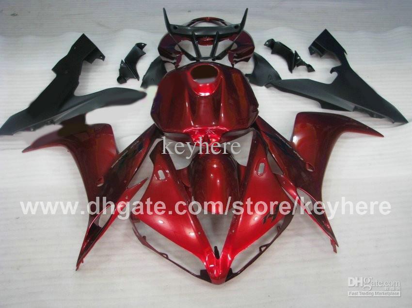 Kit de Carenagem livre personalizado para Carroçaria 2004 2005 2006 YAMAHA YZF R1 04 05 06 YZFR1 YZF 1000 Carcaças de carroçaria vermelho escuro com tampa do tanque cheio