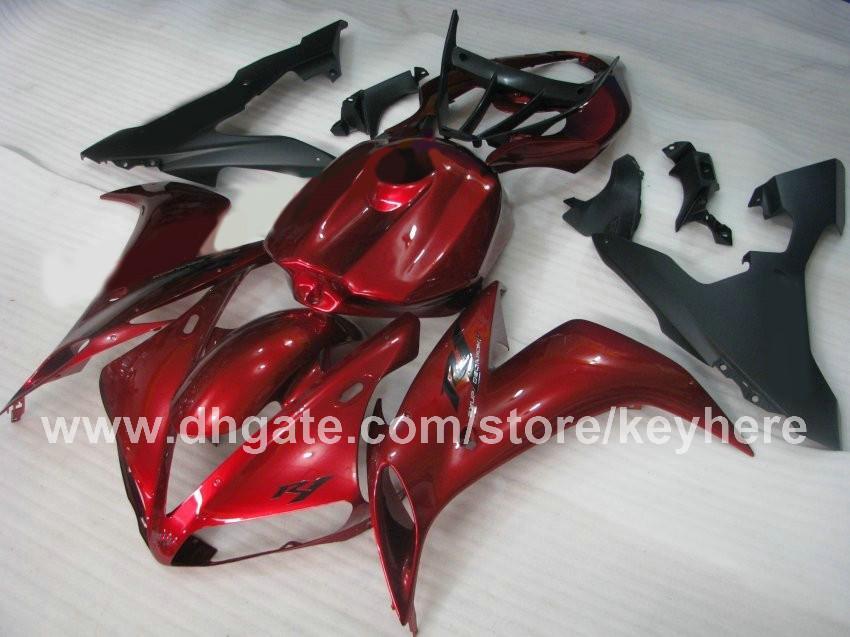 Kit carenature personalizzate carrozzeria Carrozzeria 2004 2004 2006 YAMAHA YZF R1 04 05 06 YZFR1 YZF 1000 carenature carri armati di colore rosso scuro con carter completo