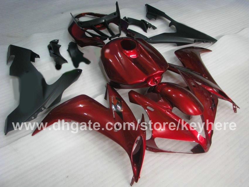 Kit de carénage personnalisé gratuit pour 2004 2005 2006 YAMAHA YZF R1 04 05 06 YUFR1 YZF 1000 carénages de carrosserie rouge foncé avec couvercle intégral