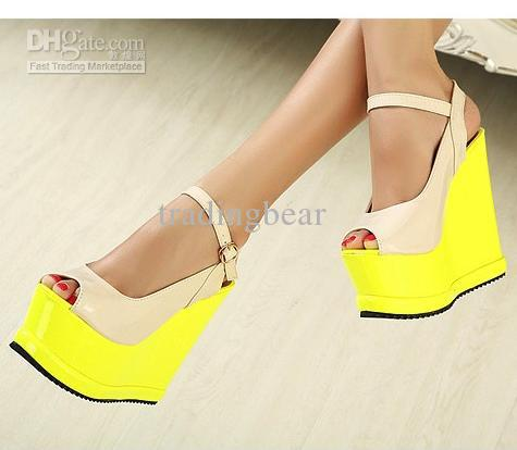 aa7623b50d Wholesale Wedges Fluorescent Yellow Colorful Ankle Strappy High Wedge Heels  Sandal Shoe Sale Shoes Uk From Tradingbear, $36.21| DHgate.Com