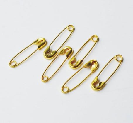 Spilla di sicurezza in metallo oro Chiusura a spillo pannolini pannolini Craft ago 20mm molto