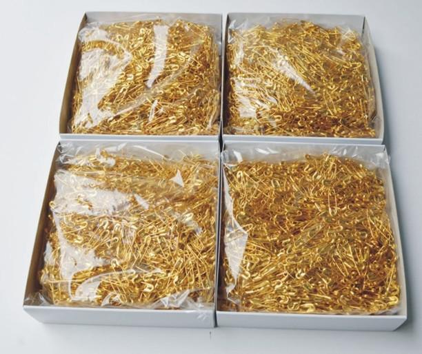Perno de seguridad de metal dorado Bloqueo de tela para bebés Pañal del pañal Craft Pins aguja 20mm 1000 unids mucho
