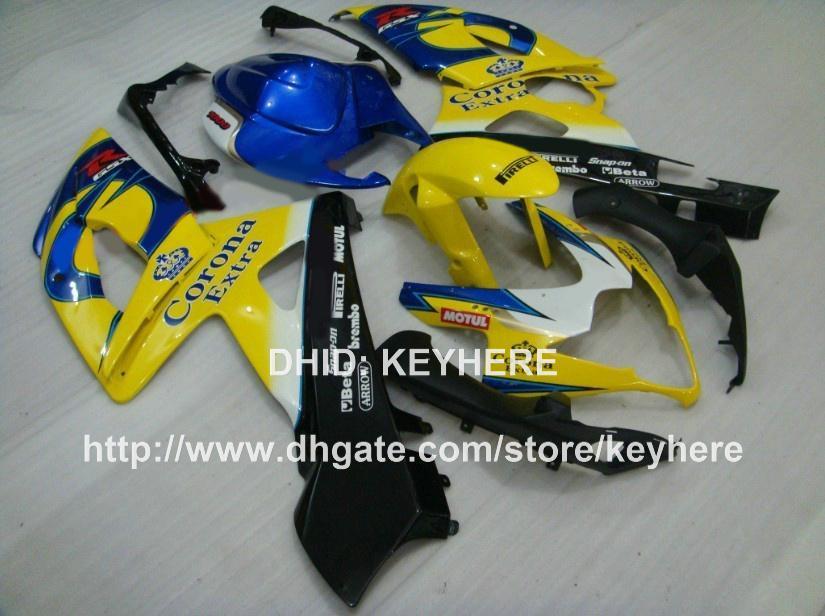 Kit carena in plastica ABS SUZUKI GSX-R1000 2005 2006 GSXR1000 2005 2006 Carene K5 Carrozzeria moto aftermarket G1b blu giallo nero