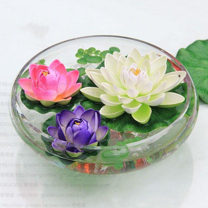 Diameter 10 Cm Artificial Lotus Flower Water Pool Fish Tank Decor Plants Craft Supplies For Wedding