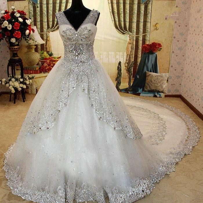 Wholesale   100% New V Neck Actual Image SWAROVSKI Luxury Crystals  Cathedral Train Wedding Dress
