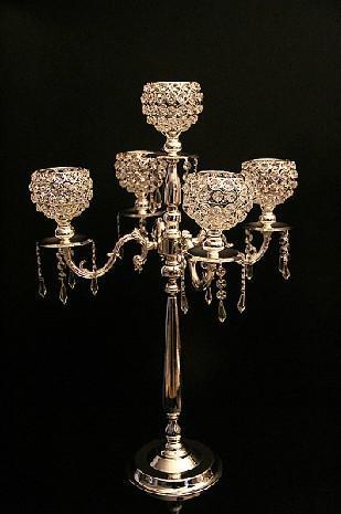 Candelabro de prata de cristal de casamento decoração alta