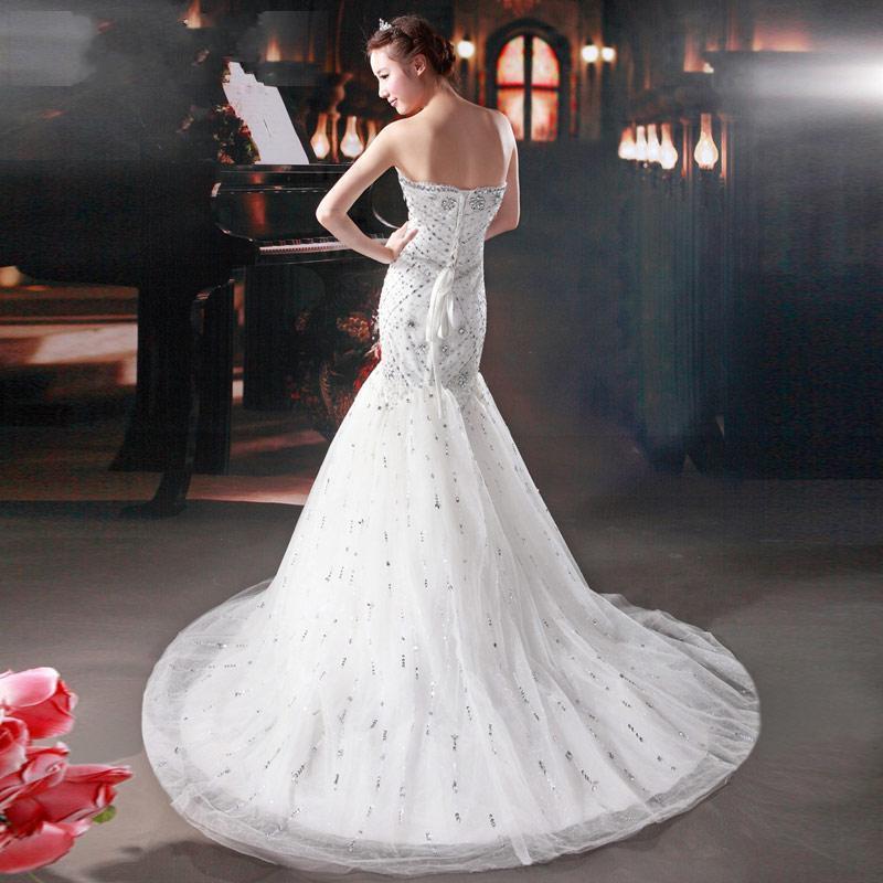 Personalizado Mais Recente Incrível Trompete / Sereia Querida Beading Até O Chão Tribunal Trem Vestido De Noiva Vestidos