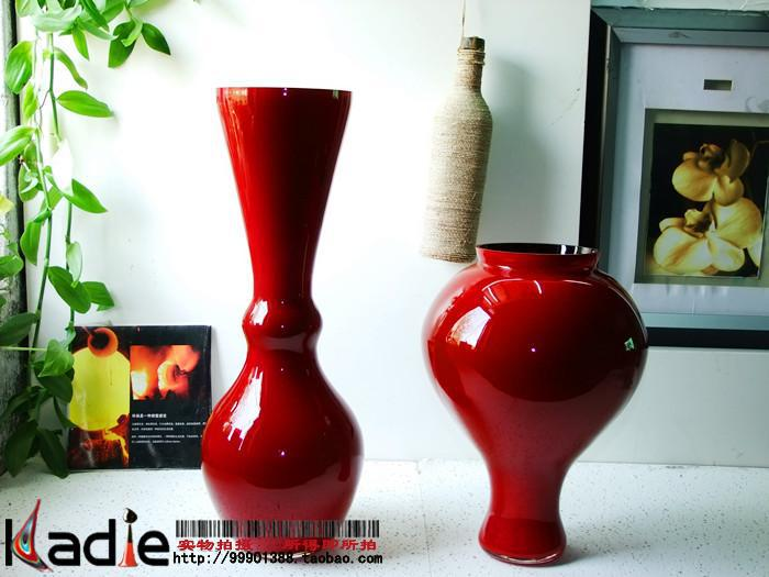 Red Black Floor Glass Vase Home Decoration Wedding Gift Art Bag Gold