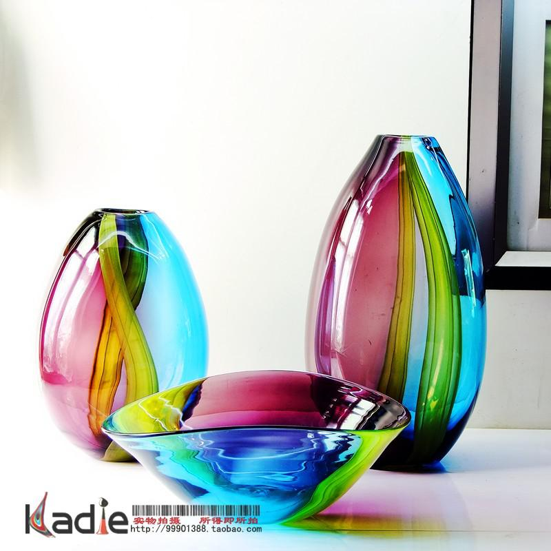 Two Color Crystal Glass Vase Modern Fashion Home Decoration Soft