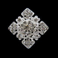 Wholesale Square Brooch - Silver Tone Zinc Alloy Rhinestone Crystal Square Pin Brooch