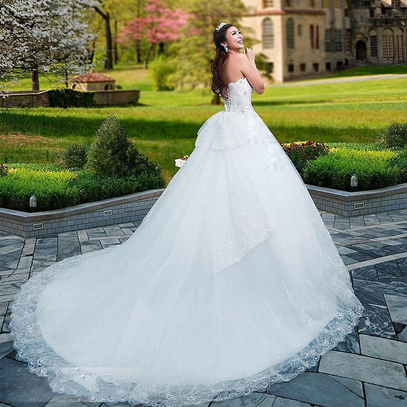 Personnalisé Dernières Jolie A-ligne Sweetheart Perles parole longueur train chapelle robes de mariée robe 02
